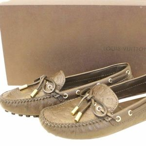 32d3690746a0 LOUIS VUITTON Loafers Monogram Embossed Size 37